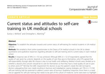 Attitudes to self-care training in UK Medical Schools